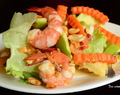 Thai style fruits salad with shrimps. (Som Tam Phonlamai Koong Sod)