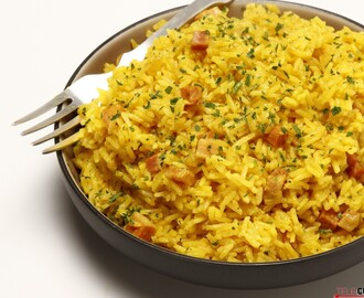 Arroz de açafrão e bacon