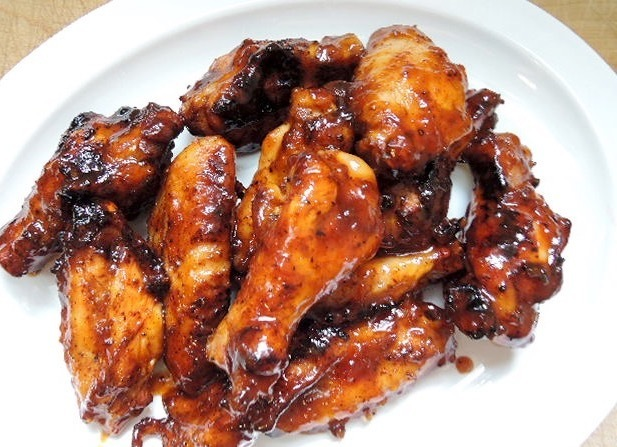 Grilled Chicken Wings with Sweet and Spicy Apricot Barbecue Sauce