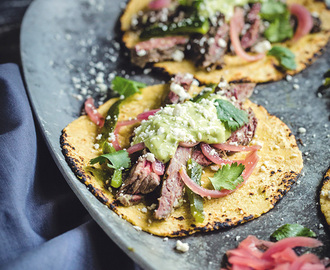 Carne Asada Tacos with Harissa Avocado Crema and Mexican Pickled Red Onions