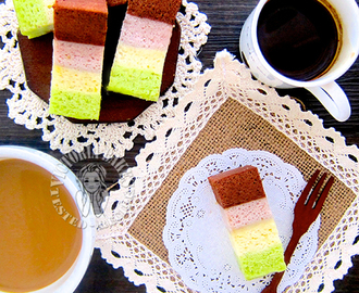 bolu kukus pelangi (steamed rainbow sponge cake ~ egg white version) 蒸彩虹海绵蛋糕 ~蛋白版