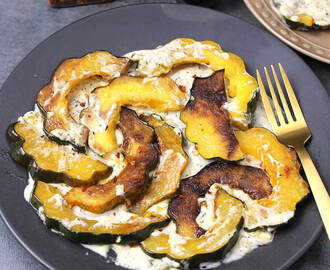 ROASTED ACORN SQUASH IN GARLIC CREAM SAUCE