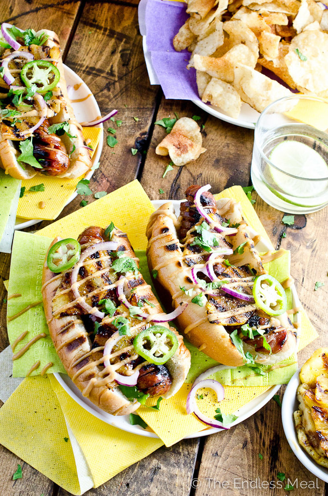 Hawaiian Hot Dogs with Grilled Pineapple and Teriyaki Mayo