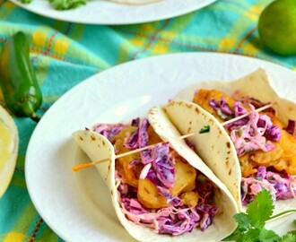 Beer Battered Fish Tacos with Jalapeno Lemon Slaw