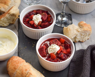 Red Borscht Soup with Beet Gnocchi