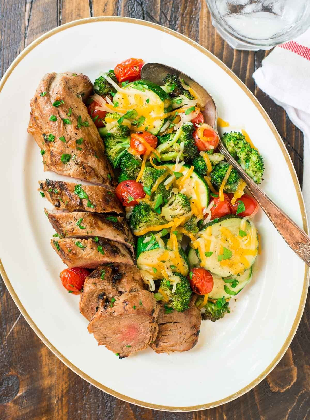Mustard Pork Tenderloin with Grilled Vegetables in Foil