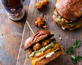 Smoky Chipotle Cheddar Burgers with Mexican Street Corn Fritters.