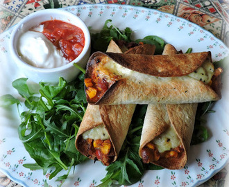 Crispy Baked Sweet Potato, Corn & Bean Flautas
