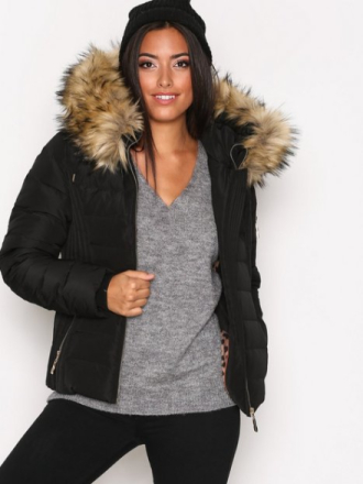 Hollies Meribel Fake Fur Dunjackor Black