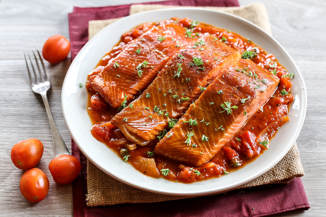Smoked Salmon in Tomato and Caper Sauce