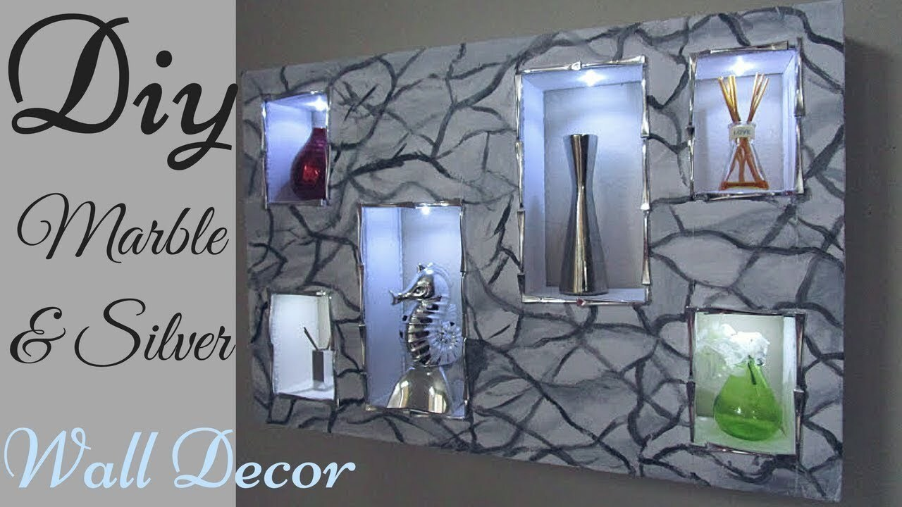 Diy Marble and Silver In-built Shelve Lighting Wall Decor.