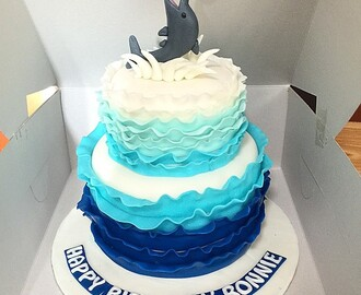 Blue Ombre Dolphin Cake