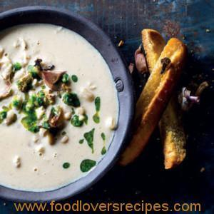 ROAST CAULIFLOWER, GARLIC AND WHITE BEANS SOUP