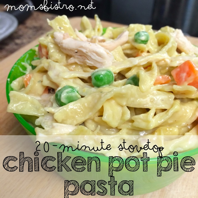 Another Easy One Dish Kid-Friendly Dinner Idea Ready In Only 20 Minutes!  Easy Kid-Friendly Chicken Pot Pie Pasta Recipe