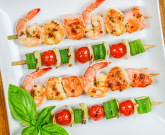 Grilled Seafood Skewers with Tomato Basil Butter