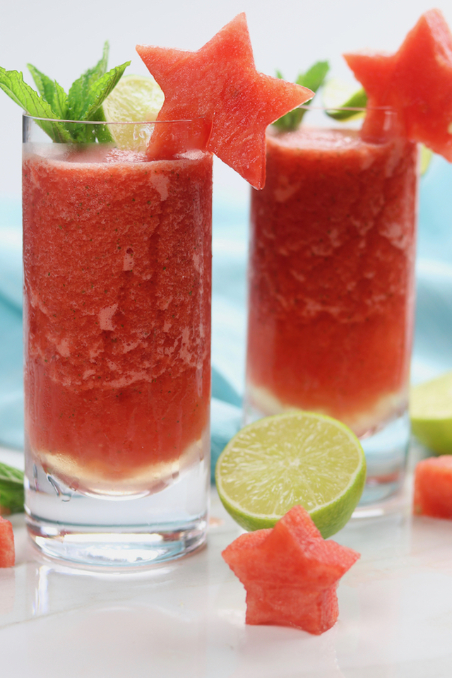 Frozen Watermelon Mojitos