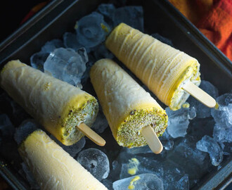 Mango Kulfi with condensed milk and Pistachios