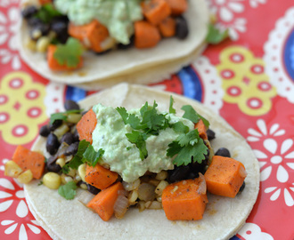Vegetarian Dinner Ideas – Black Bean and Caramelized Sweet Potato Tacos with Blistered Corn and Avocado-Lime Crema  #SummerIsSocial