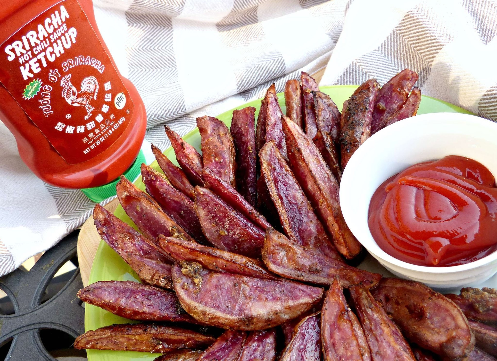 Baked Chinese Five Spice Fries with Sriracha Ketchup