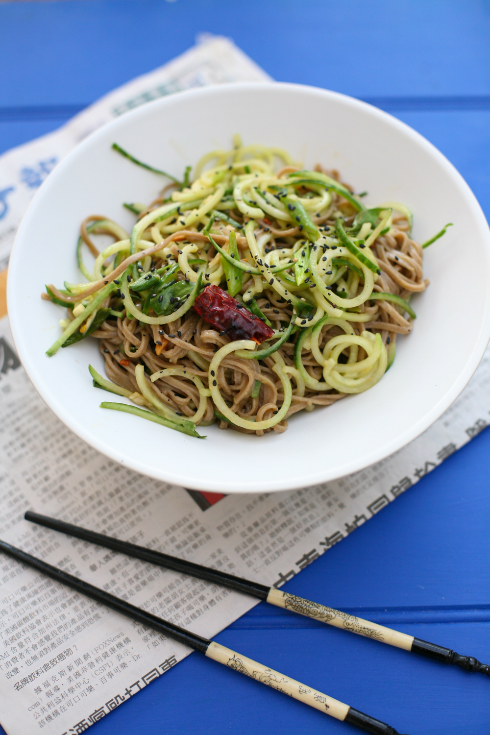 Cold Spiced Soba and Cucumber Noodles