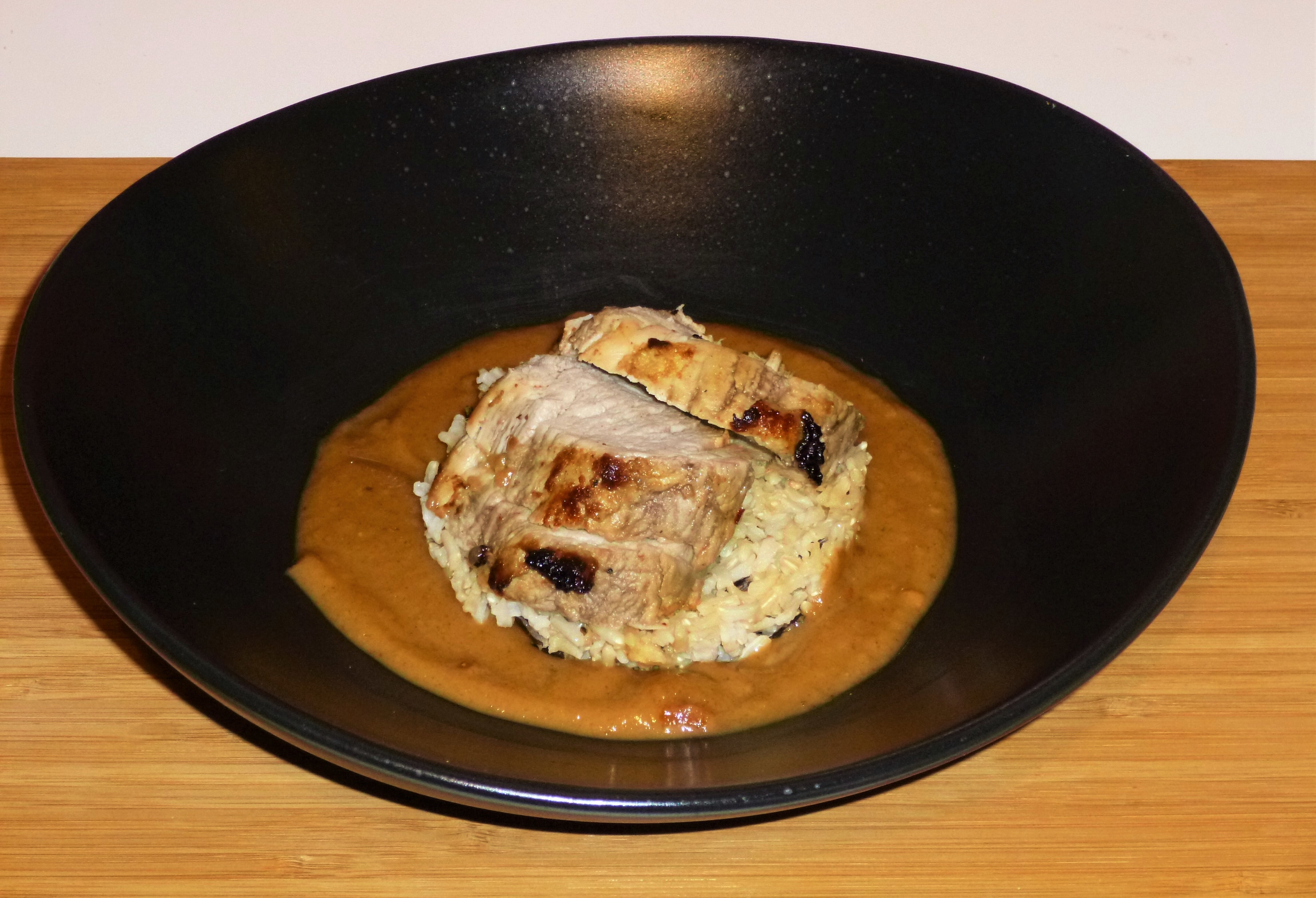 Balinese Marinated Roasted Pork Fillet with a Peanut Butter Gravy and Wild Rice Recipe