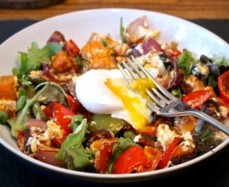 Sweet Potato, Roasted Peppers and Feta Cheese Salad, Topped with a Gooey Poached Egg