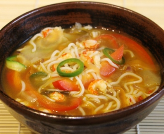 Miso Soup with Crayfish, Sliced Peppers and Fine Noodles