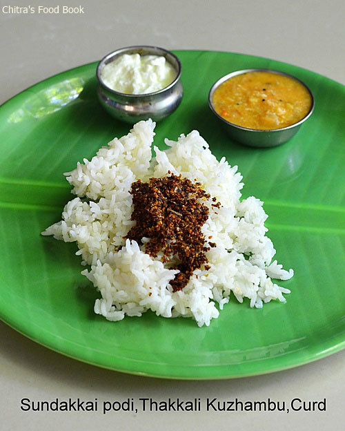 Sundakkai Vathal Podi,Thakkali Poricha Kuzhambu Recipe-South Indian Lunch Menu For Stomach Problems