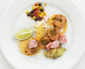 Shrimp Tacos with Watermelon Jicama Salad