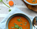 Vegan Carrot tomato soup with tamarind and ginger
