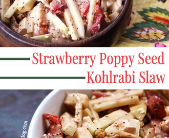 Creamy Strawberry Poppy Seed Kohlrabi Slaw