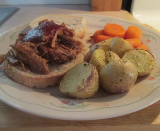 Crockpot BBQ Pork Shoulder w/ Boiled Baby Carrots and Roasted Yukon Potatoes with Rosemary