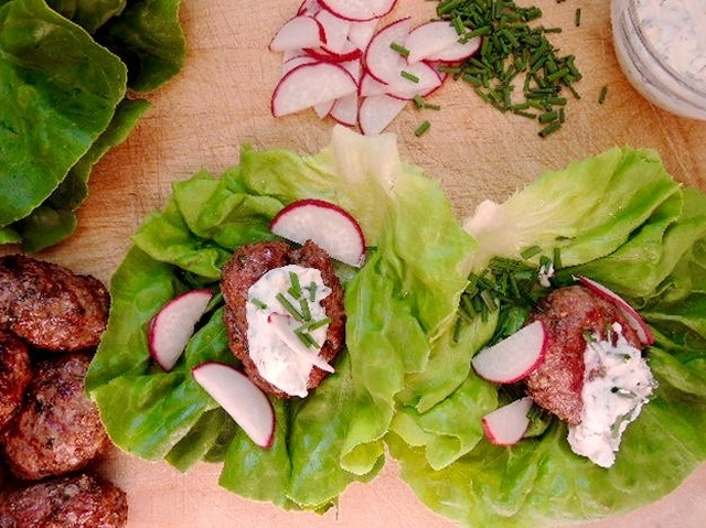 Lamb and Radish Lettuce Wraps with Minty Yogurt Sauce