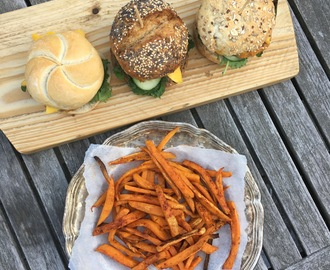 Vegetarische Bonen Burger & Sweet Potato Fries
