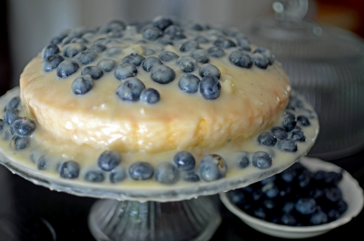 Blueberry Cake with White Chocolate Pudding Icing