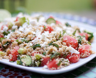 Minted Couscous Salad with Watermelon & Baby Cucumber