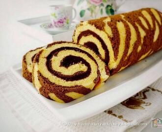 Zebra Swiss Roll Cake (cooked dough method)  / Bolu gulung zebra