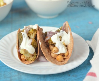Homemade Whole Wheat Tacos with Roasted broccoli & Chickpeas with Lemon cream dressing