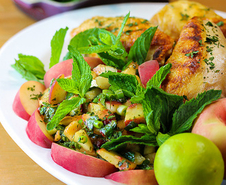 Grilled Chicken with Peach Chimichurri Sauce (Gluten-Free)