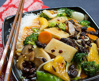 Vegetable Chop Suey with Jicama (Chinese Yam) & Black Beans | Vegan / Vegetarian Recipe