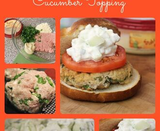 Spinach, Feta and Hummus Turkey Burger Recipe with Creamy Cucumber Topping