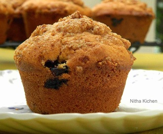 Eggless Blueberry Yogurt Muffins with Crumb Topping