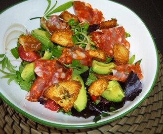 Salami, Avocado and Tomato Herb Salad with Rosemary and Parmasen Croutons Recipe