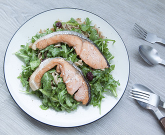 Pasta Salad with Japanese Salted Salmon, Arugula, and Orange Juice Vinaigrette