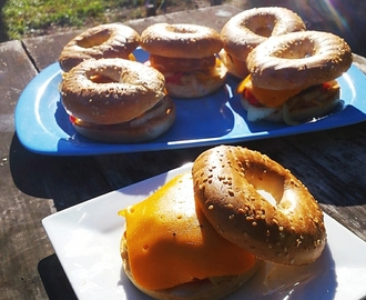Grilled Sausage and Chorizo Breakfast Bagels