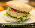 Juicy Mediterranean Turkey Burgers with Yogurt Sauce, Peaches & Arugula