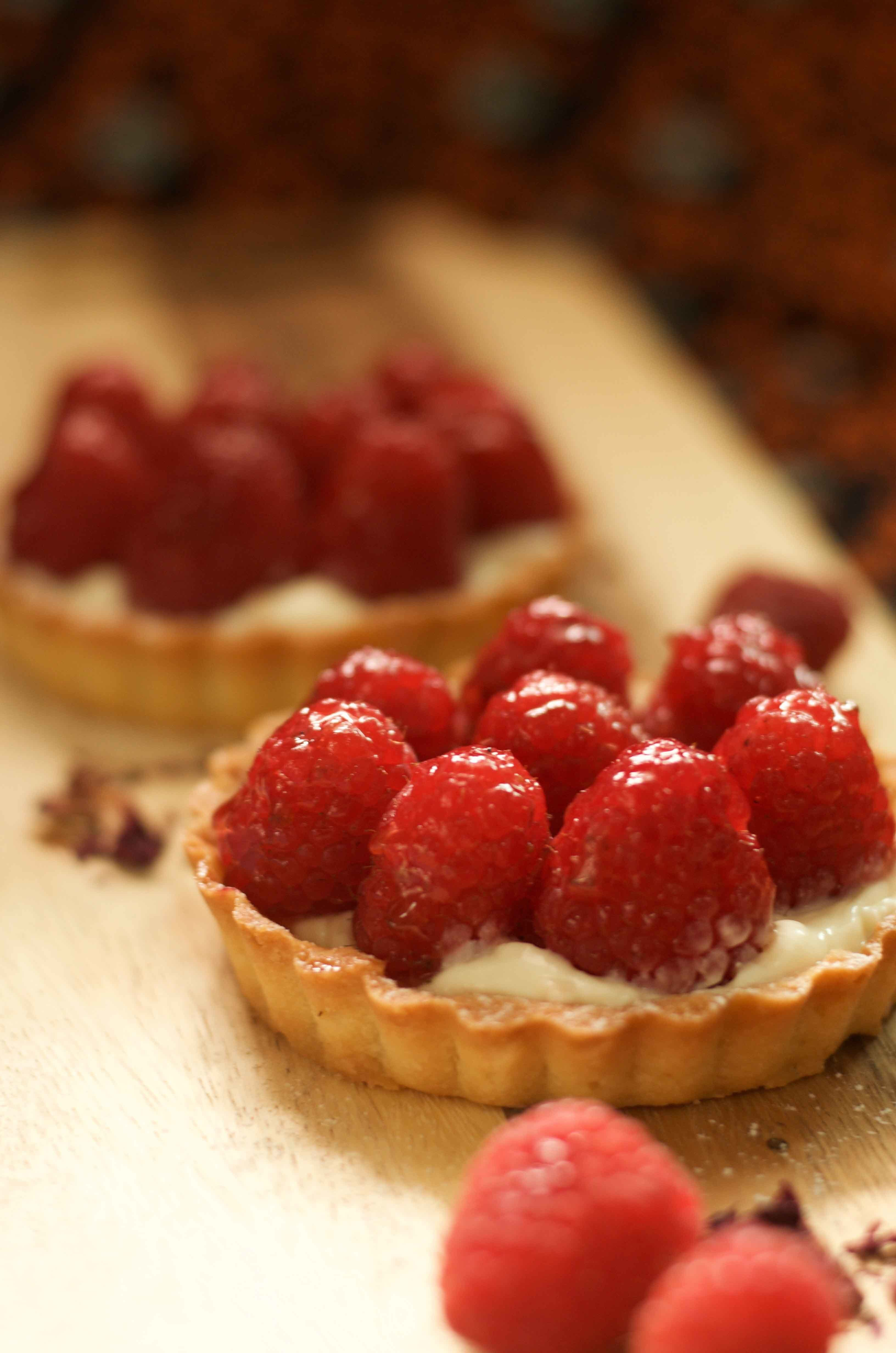 Rose and raspberry tarts