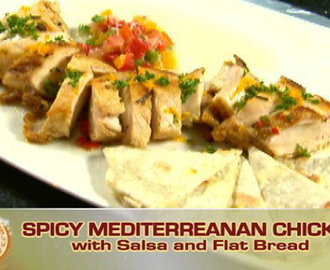 Spicy Mediterranean Chicken with Salsa and Flat bread