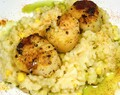 Sweet Corn Risotto with Seared Scallops and Basil Oil