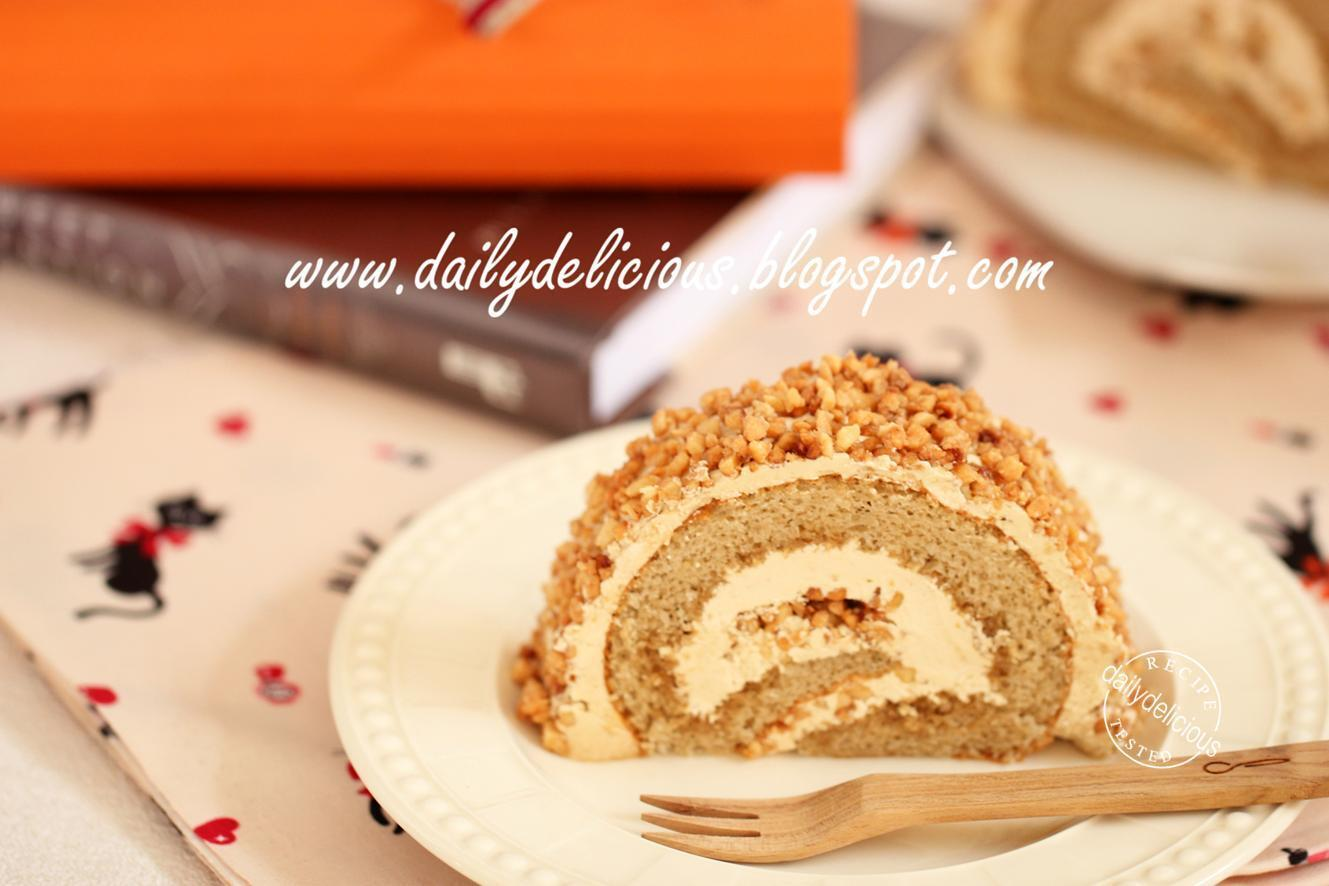 Almond Coffee Roll Cake: Nutty sweet roll cake